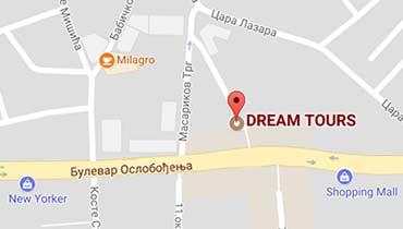 turisticke agencije leskovac, dream tours leskovac lokacija, mapa